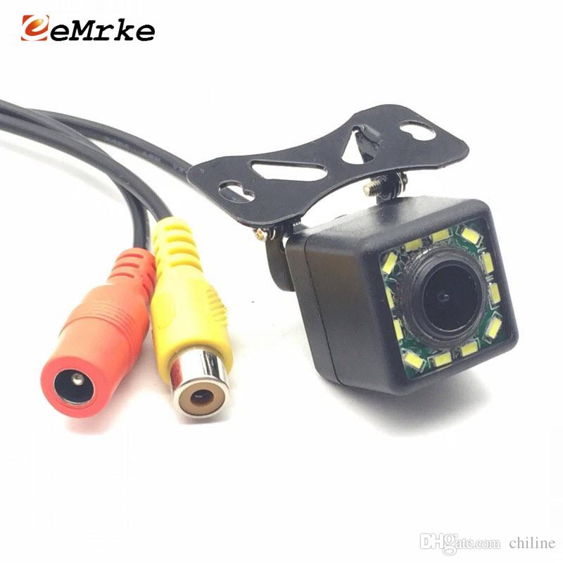 EEMRKE 12 LED Universal Car Camera HD CCD Night Vision Rear View Backup Parking Cameras Night Vision 170 Wide Angle NTSC Video Cable Ki