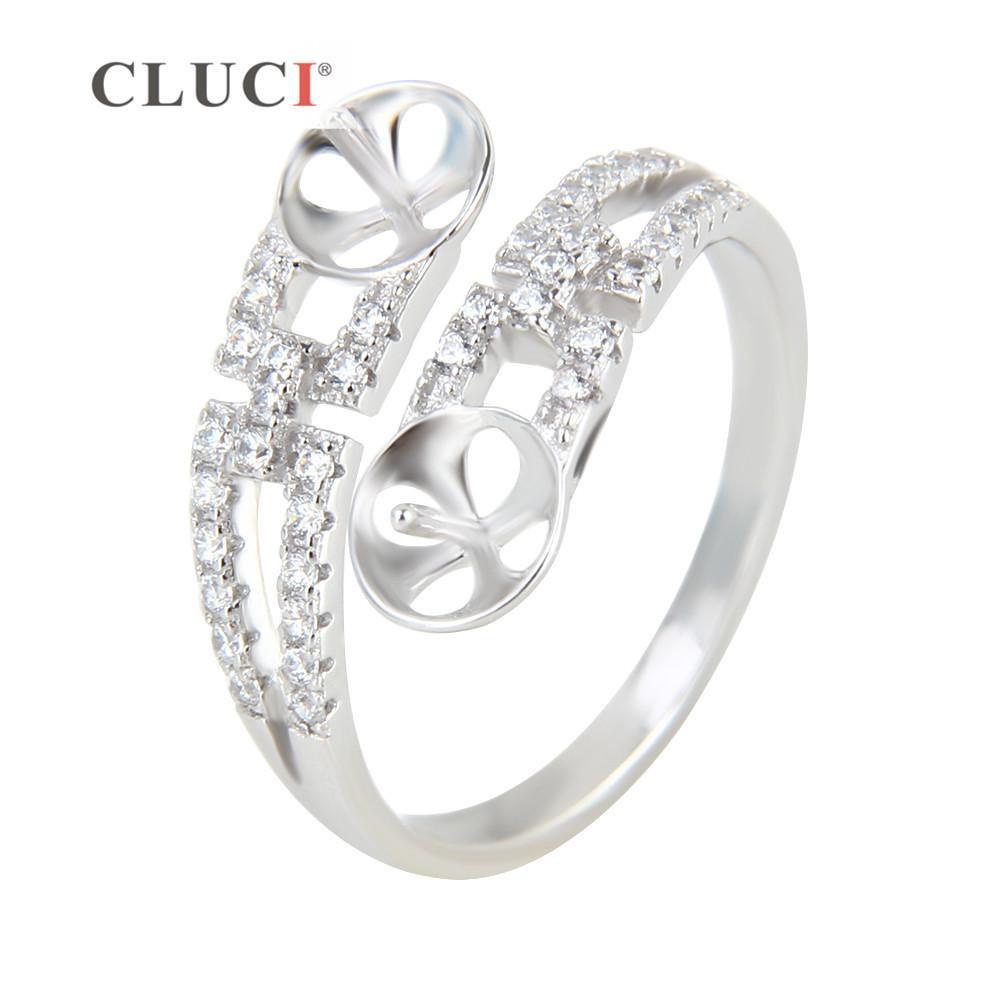 Anello doppio CLUCI Anello per attaccare 2 perle per donne eleganti Anello in argento sterling Bague Bijoux / Anello di fidanzamento Y1892607