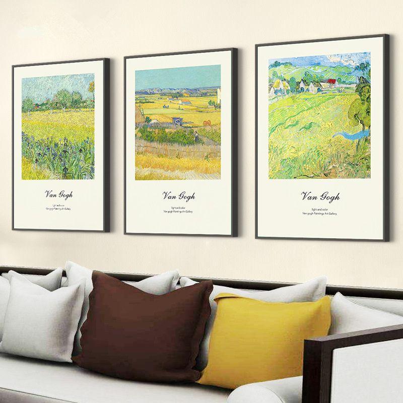 2018 New Green Field Impressão Estilo Photo Frame Set Wall Hanging Molduras Combinação Home Decor Picture Frame 3 pçs / set