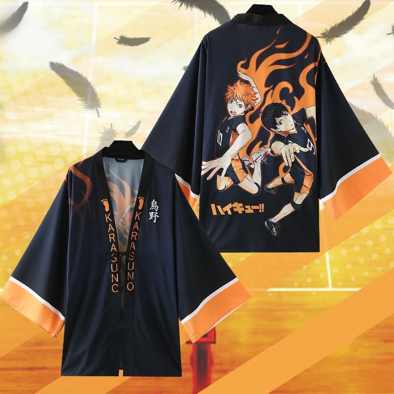 Asian Size Giappone Anime Haikyuu Costume Cosplay Karasuno Liceo Hinata Syouyou Yukata Haori Chiffon Accappatoio Kimono Mantello Cappotto