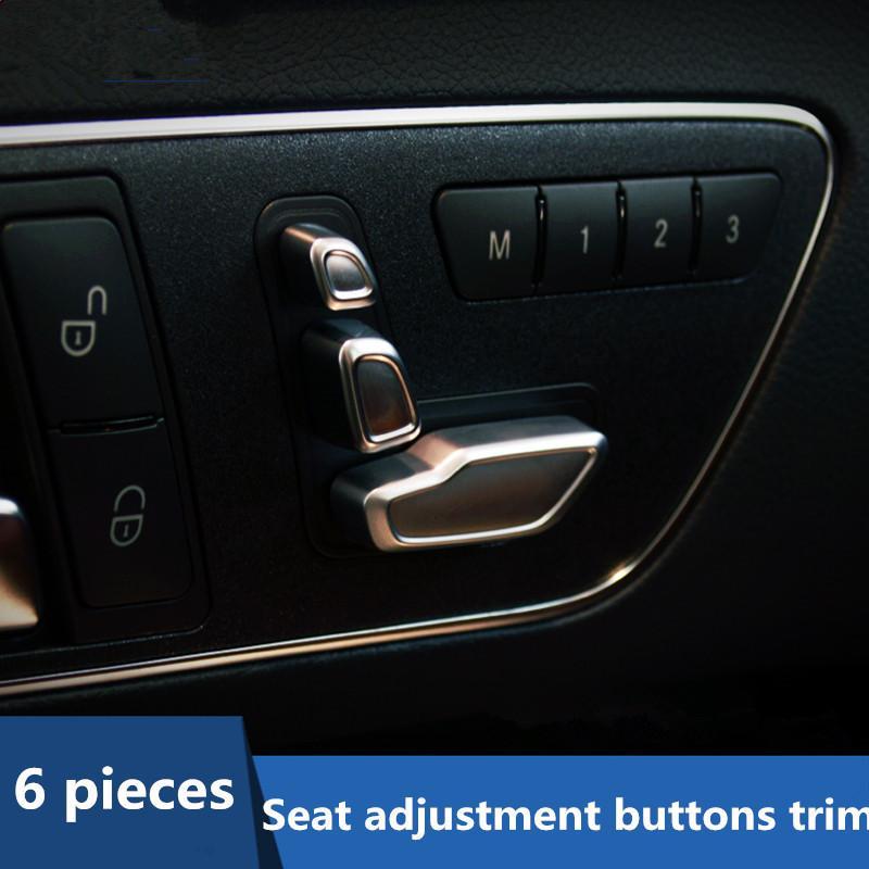 6шт хром ABS кнопки регулировки сиденья украшение крышка отделка для Mercedes Benz CLA GLA CLS GLK B C E класс