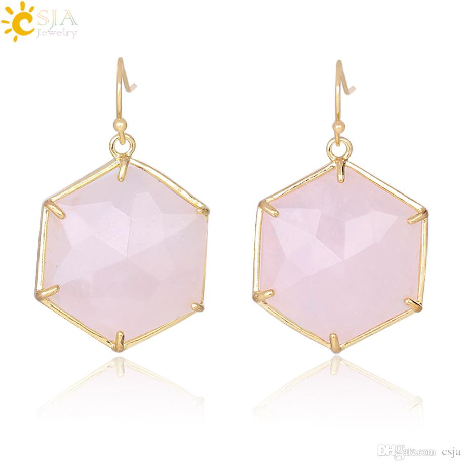 CSJA Pink Stone Hexagon Earrings Natural Gemstone Pendant Dangle Earring for Piercing Ear White Crystal Rock Women Party Jewelry Gift F345