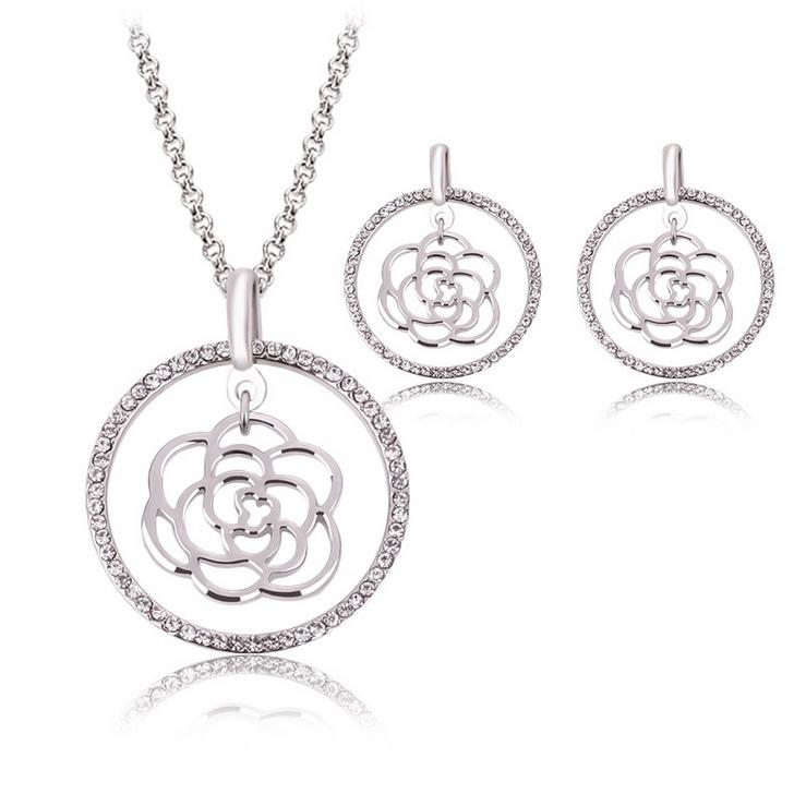 Necklace Earrings Jewelry Set Exquisite Luxury Women Rhinestone White Gold Plated Hollow Out Rose Party Jewelry 2-Piece Set Wedding Jewelry