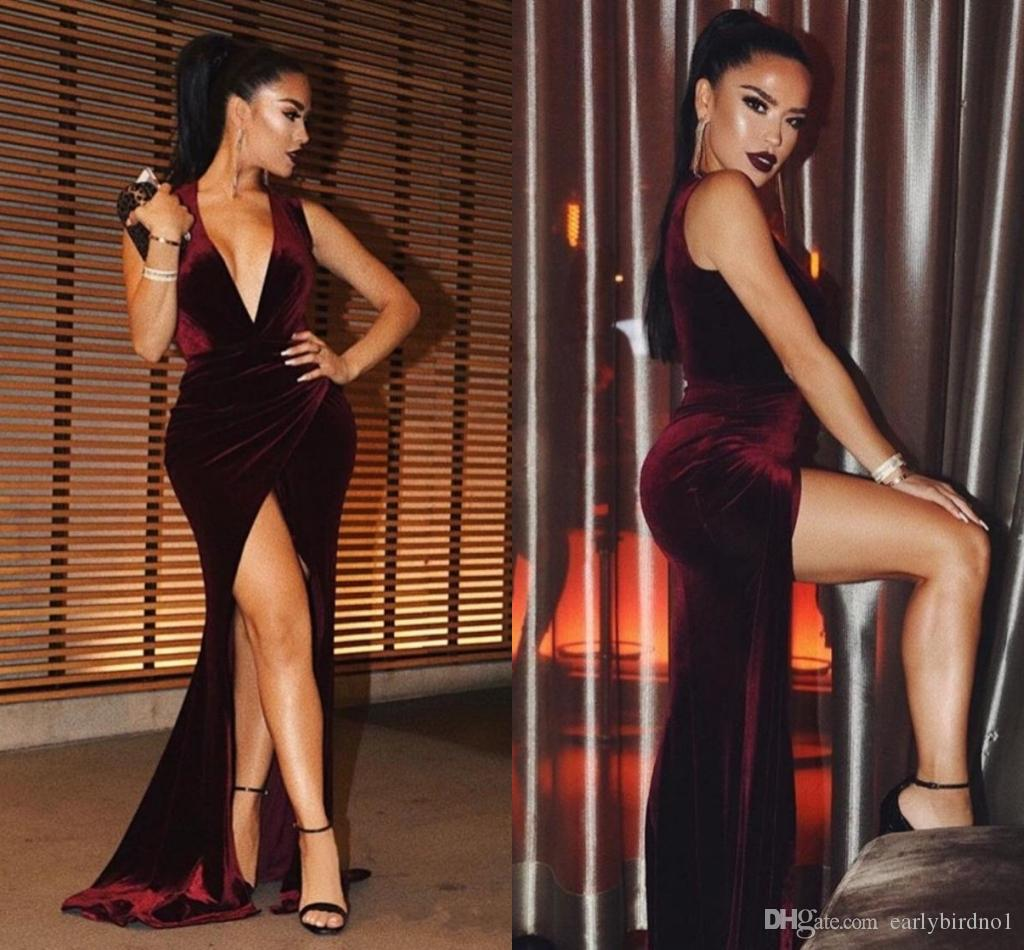 New Sexy Burgundy Michael Costello Prom Dresses 2018 Plunging V Neck Mermaid High Side Split Custom Made Evening Gowns Velvet Party Dresses