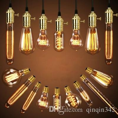 40W Retro Lamp Edison Bulb ST64 Vintage Socket DIY Rope Pendant E27 Incandescent Bulb 220V 110V Holiday Lights Filament Lamp Lampada