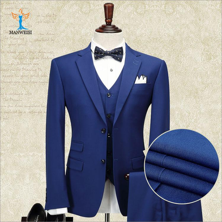 New Design Groom Suit Three Pieces (Blazer+Pant+Vest) Polyester Material Dark Blue Single Breasted Men Clothing Set For Wedding Using