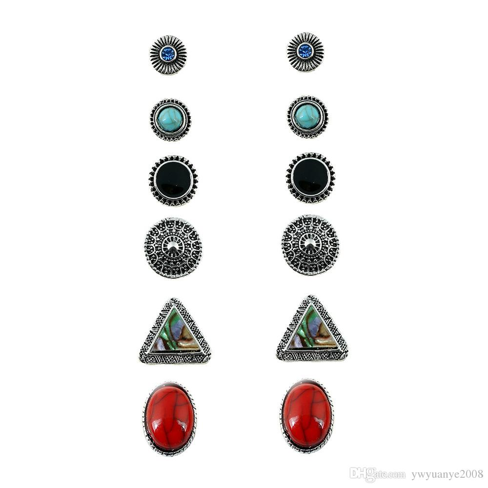 Prebeauty 6 çift / takım süper değeri Bohemia etnik Turq reçine taş Charm üçgen kabuk parlak Kristal zarif kadınlar için damızlık Küpe Seti