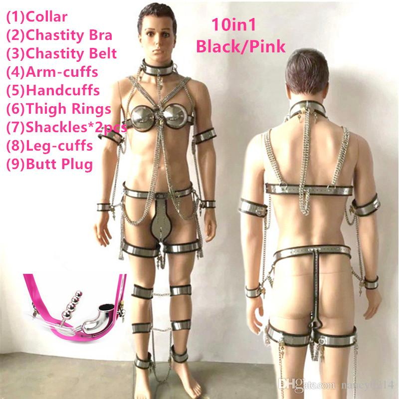 10in1 Male Stainless Steel Chastity Belts Collar Chastity Bra Anal Plug Bondage Sets Male Chastity Pants Device Adult Toys for Men G7-4-90