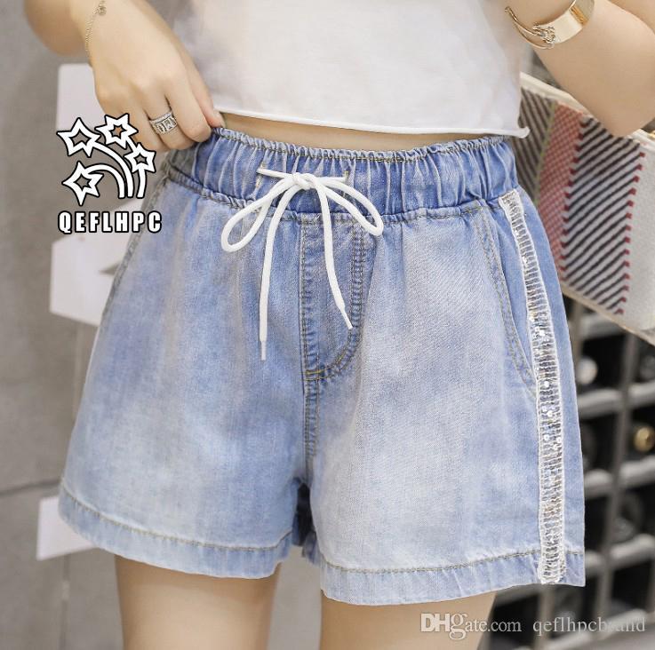 Short en jean Pantalon large côtelé Vêtements pour femmes Jeans de femme Vêtements de mode décontractée Pantalons cowboy Short en jean Wathet Hole Ripped A601 #