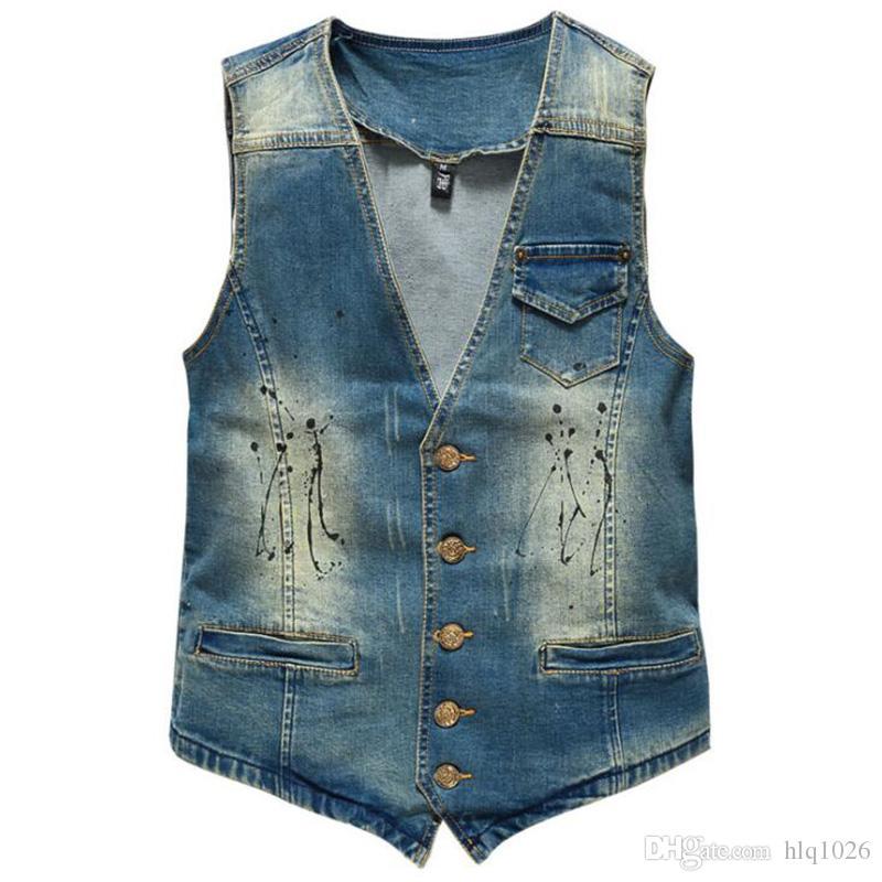 Gorące męskie kamizelki dżinsowe marki dżinsy mężczyźni kowbojskie roczniki dorywczo dziury bez rękawów Spersonalizowane kardigan męska kurtka