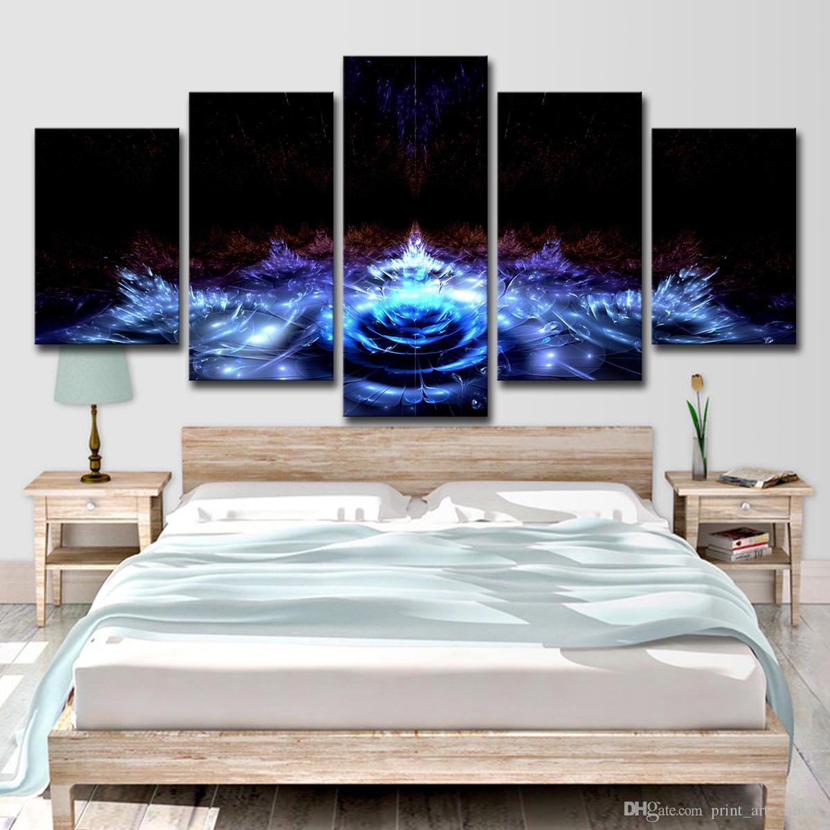 Toile Photos Décor À La Maison Mur Art 5 Pièces Bleu Water Lily Fleurs Peintures Salon HD Prints Abstrait Lotus Affiche