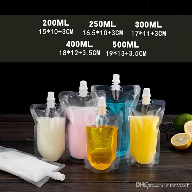 Stand-up Kunststoff Getränkeverpackungsbeutel Ausgusstasche für Getränke Flüssigsaft Milchkaffee 200-500ml LX0080