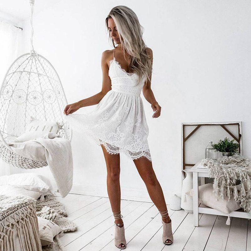 Blanc Sexy Femmes Robe en dentelle soirée d'été col en V profond dos nu Patchwork Robes Mode manches Halter Bandage Mini Vestido