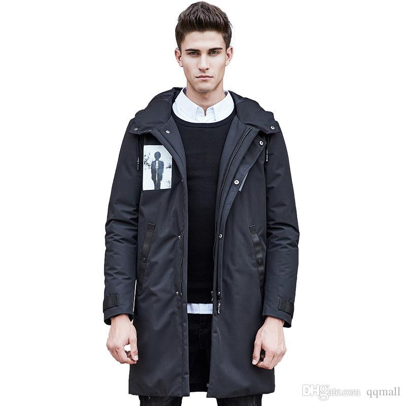 длинные зимние вниз пальто мужчины высокое качество белая утка вниз куртка теплый повседневный мужской снег куртка для мужчин