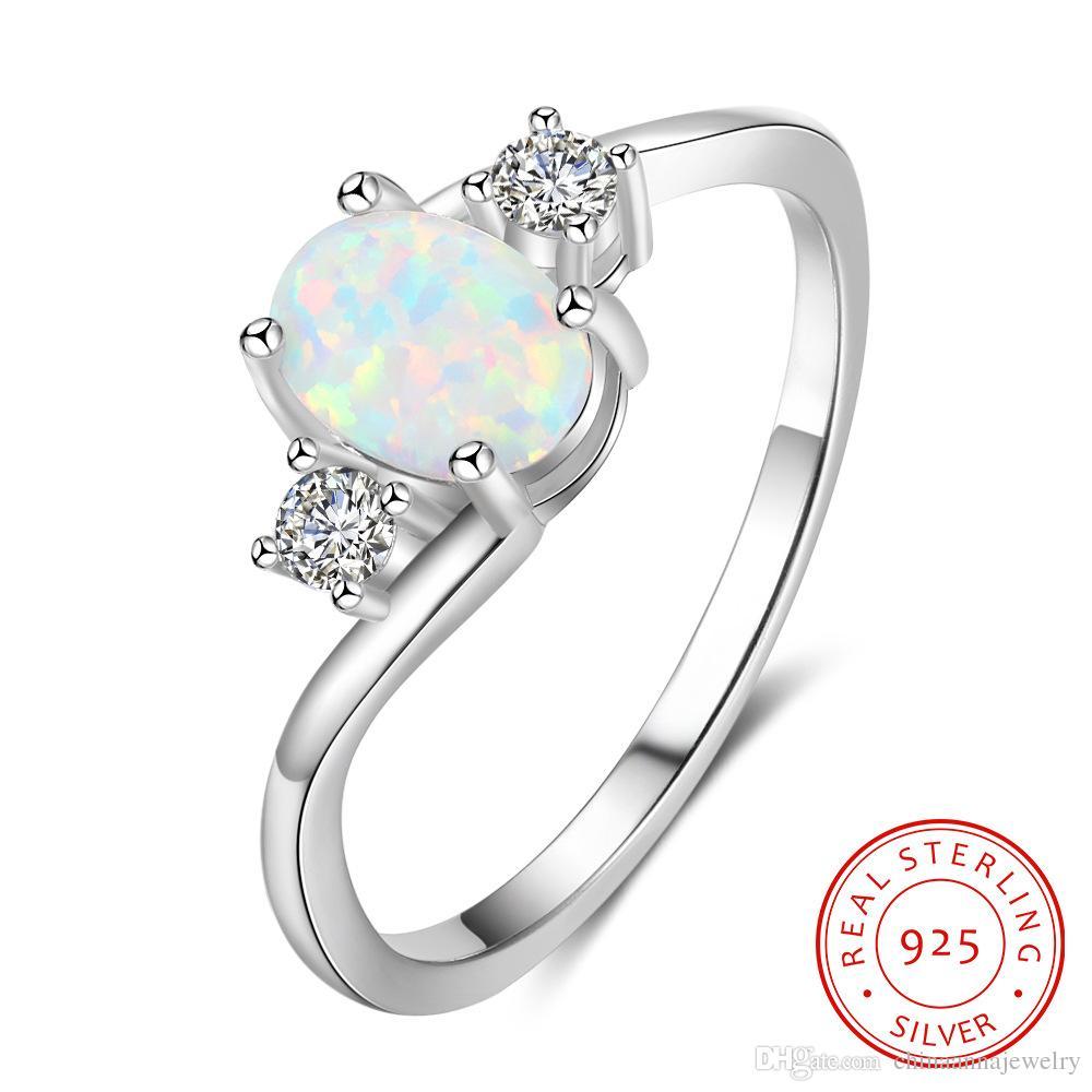 GUANGDONG China (Mainland) Модные солидные 925 Стерлинговые серебряные кольца Синтетические OPAL Пальца Кольцо костяшки MIDI