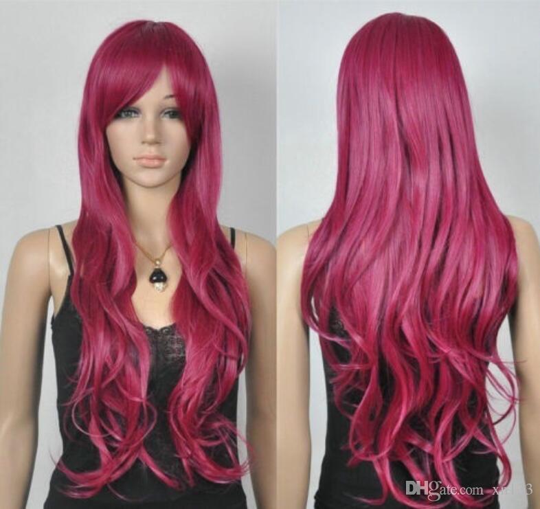 Heiße Verkaufs-neue Art und Weise reizvolle lange rote wellenförmige Frauen Dame Perücke Perücken + Cap