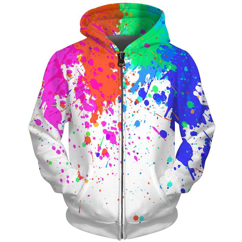 Cloudstyle masculino de la cremallera con capucha Hombres Mujeres sudadera con capucha 3D Paint Print tinte chándales flojo de la cremallera encapuchado