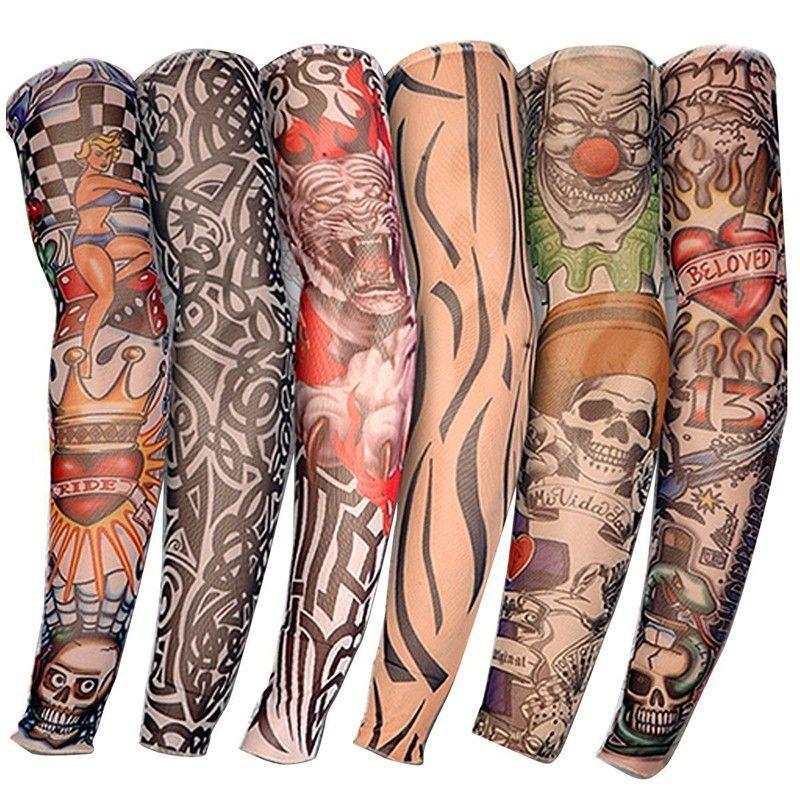 New Nylon Elastic Fake Temporary Tattoo Sleeve Designs Body Arm Stockings Tatoo for Cool Men Women