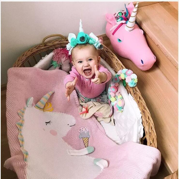 Newborn Baby Blanket Bed Crib Toddler Unicorn Pattern Knit Blankets Infant Soft Baby Fleece Pram Crib Blanket size 120*60cm 60Pcs
