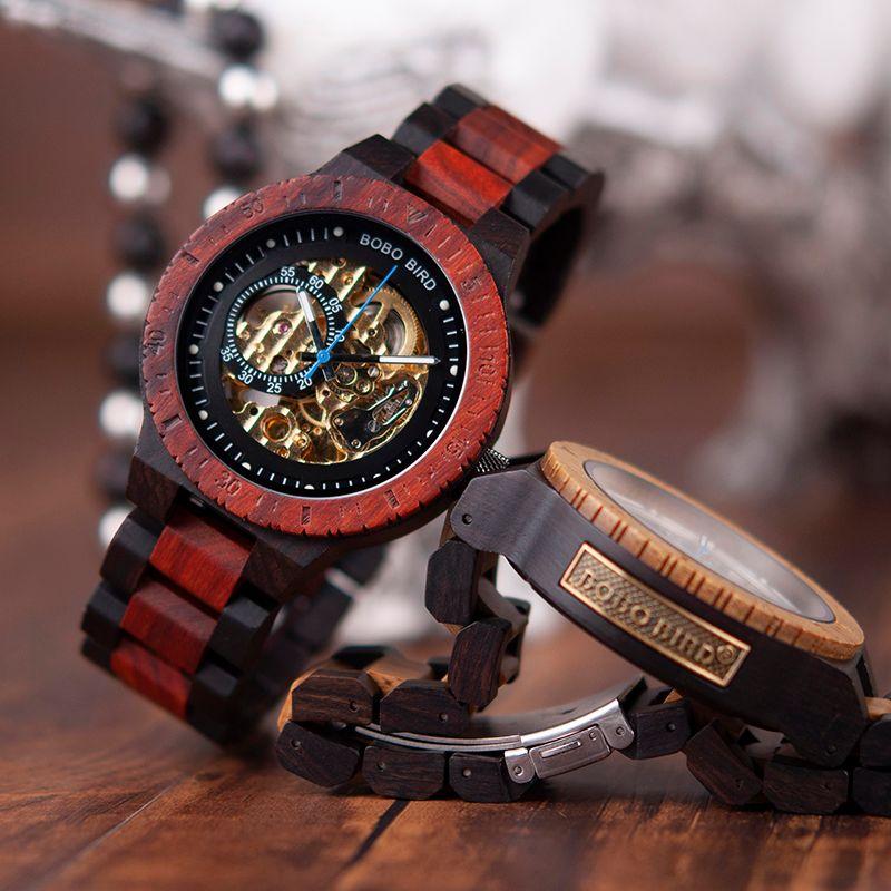 Etiqueta Design caso BOBO pássaro de madeira Relógio Mecânico Homens Retro Com Ouro Ao lado automática e multi-funcional Relógio de pulso