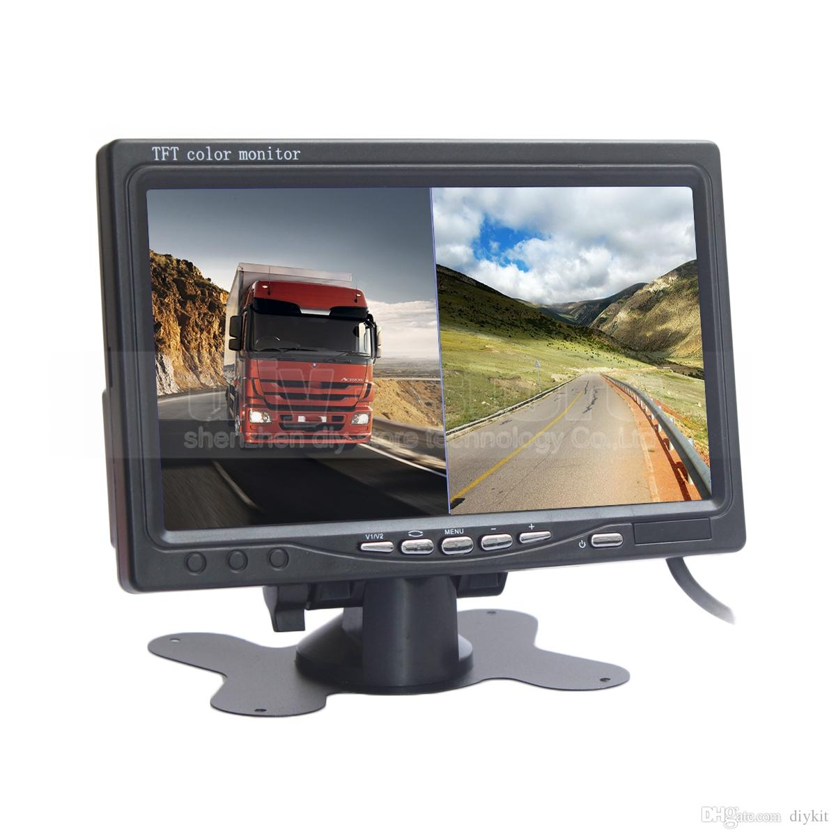 DIYKIT 7inch TFT LCD Color Rear View Monitor Car Monitor with 2 x 4PIN Video Input Diaplay Two Cameras Image