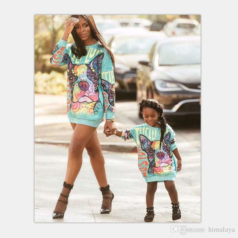 Mother Daughter Sweater Dresses 2018 Family Matching Outfits Mommy And Me Cartoon Clothes Family Dog Look
