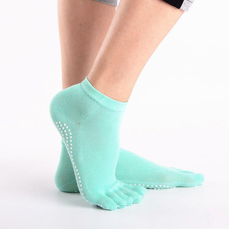 Mulheres Meias Deporte Menina Cinco Dedos Meias Algodão Gimnasio Antiderrapante Toe Chaussettes Aperto Completo Dedo Do Pé Feminino Feminino Engraçado Meia Bonito Com Saltos