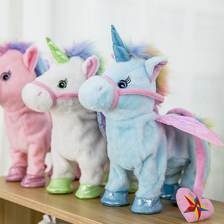 Eléctricos unicornio muñeca de la felpa del animal relleno Ruta Caballo del juguete electrónico de la música pony Canto niños de juguete de la novedad del regalo GGA1262-1
