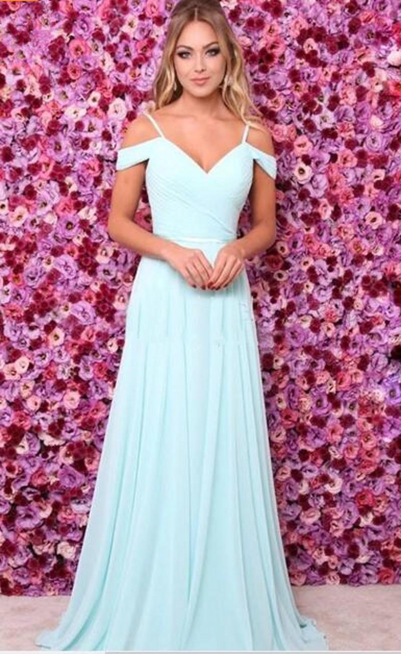 2018 nova luz hortelã vestidos de baile off the shoulder cintas de espaguete plissado chiffon até o chão vestidos de festa com fita faixa