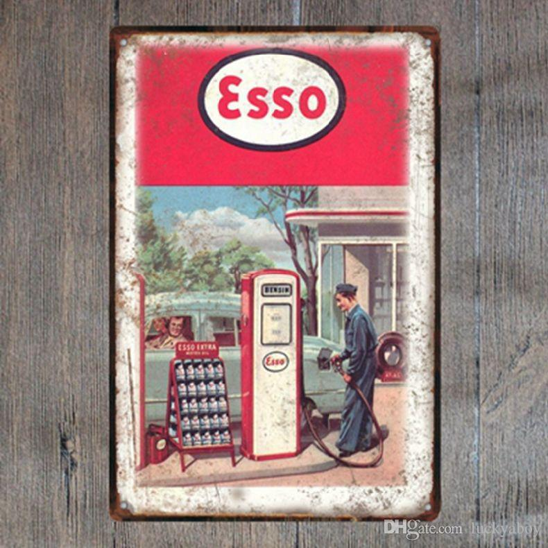 ESSO Retro Metal Sign Vintage Craft Tin Sign Retro Metal Painting Poster Bar Pub Wall Art