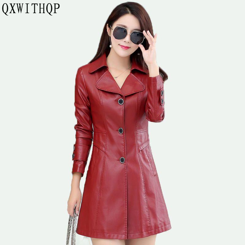 QXWITHQP 2017 autunno nuova moda giacca di pelle di grandi dimensioni giacca a vento in pelle sezione lunga moto Slim marea S-3XL
