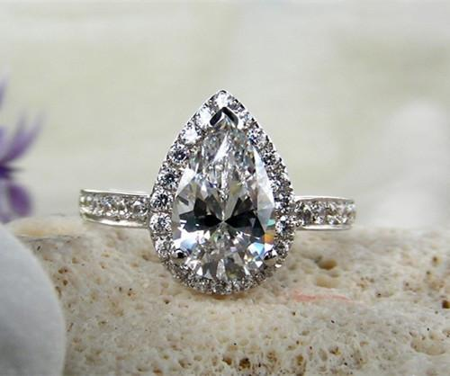 Amazing 3 CT Pear Shape Solid 585 White Gold Ring Synthetic Diamonds Ring For Bridal Best Celebrate Gift For Girl With Box S923