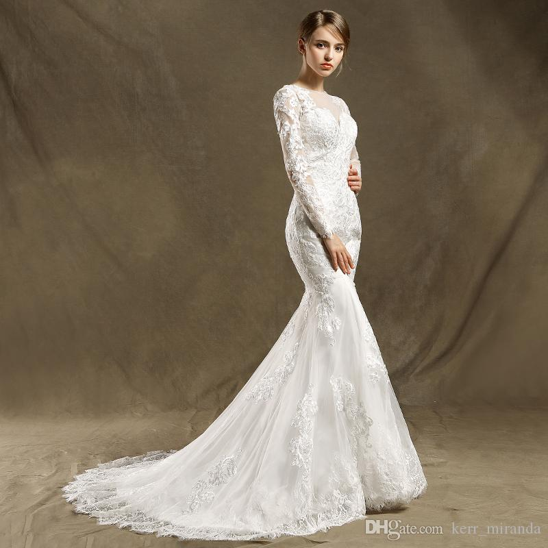 Long Sleeve Appliques Beaded Mermaid Wedding Dresses Illusion Sheer Neck Lace Style Fish Tail Bridal Wedding GownS DH322