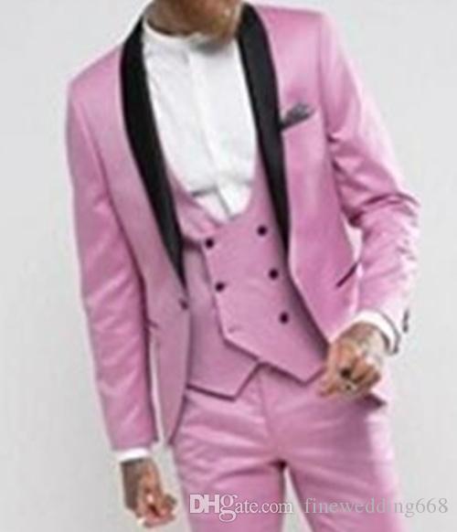 Scollo a tre pezzi con collo a scialle con risvolto rosa, un bottone, stile mattutino, abiti da uomo, matrimonio / ballo / cena. Blazer da uomo (giacca + pantaloni + cravatta + gilet)