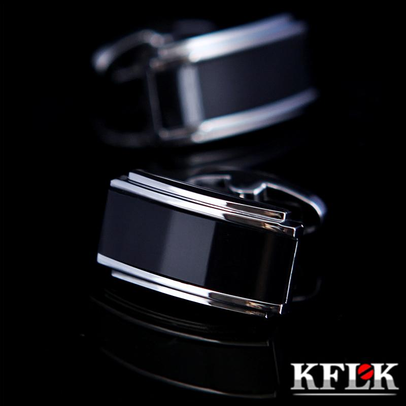 Erkek Tasarımcı Marka Siyah Kol Düğmesi Fransız Düğme Yüksek Kalite Lüks Düğün Erkek Aksesuarları İçin Kflk Takı Gömlek Kol Düğmesi