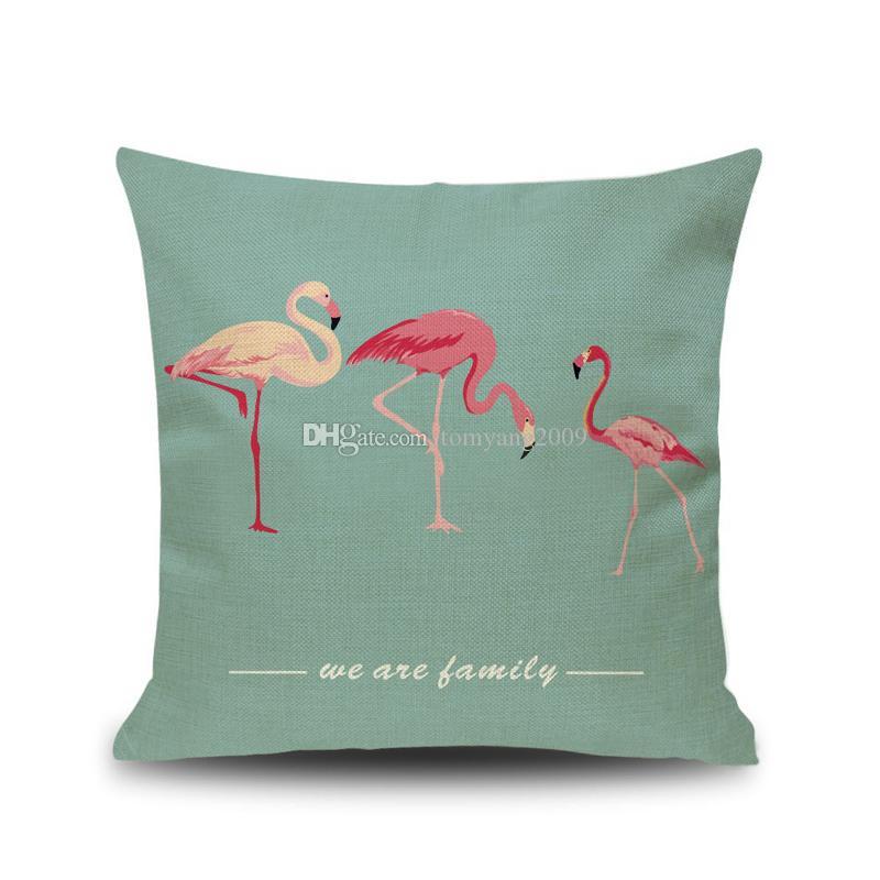 2019 Flamenco al por mayor de dibujos animados caso del estilo de la hoja cubierta de almohadas Almohada Amortiguador lindo Impresión Animal cubierta embroma el regalo colorido de los pájaros