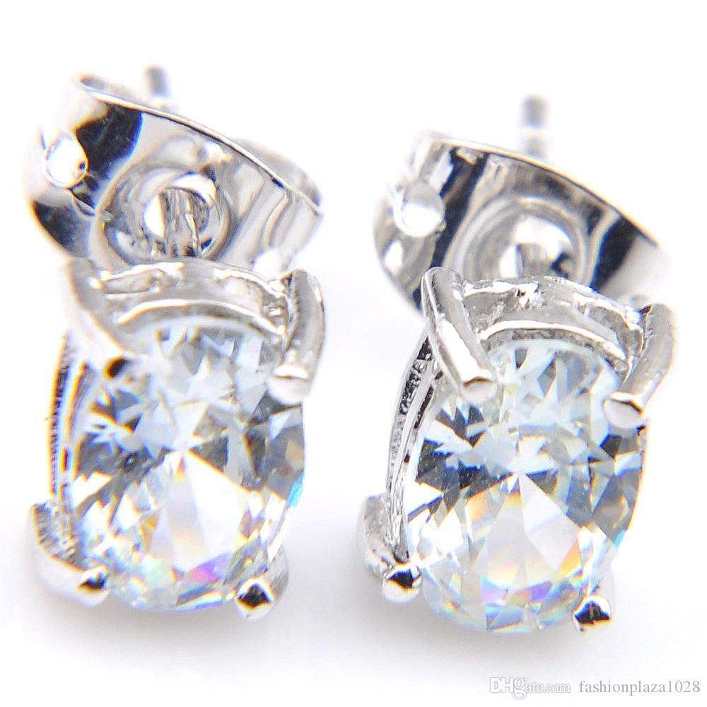 LuckyShine 6x8m m óvalo blanco Gemas Topaz 925 joyería de la boda plata esterlina Pendientes de la mujer Pendientes de envío
