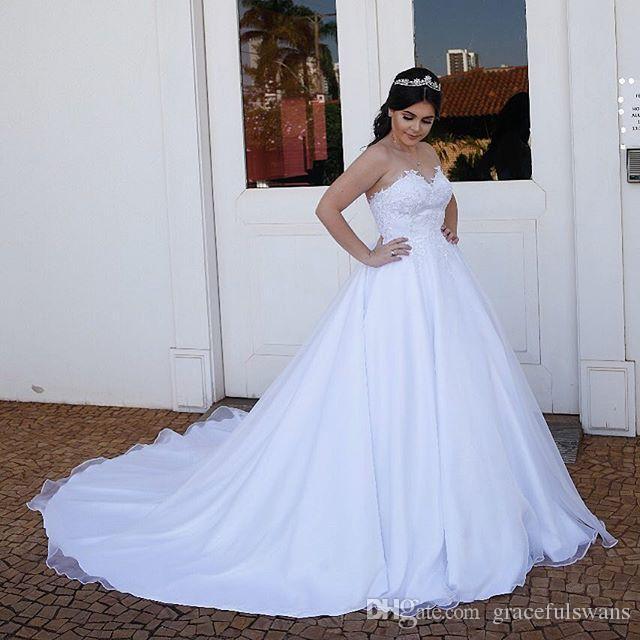 Милая белые свадебные платья для свадебных аппликаций простые элегантные свадебные платья атласный халат de mariee princesse De luxe