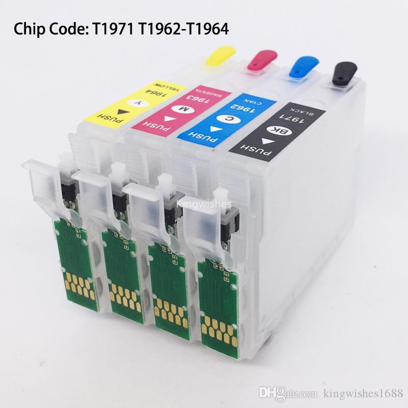 Cartouche rechargeable T1971 T1962-T1964 avec puce de réinitialisation pour Epson XP211 XP411 XP201 XP401 XP101 XP204 XP214 WF-2532 sans encre