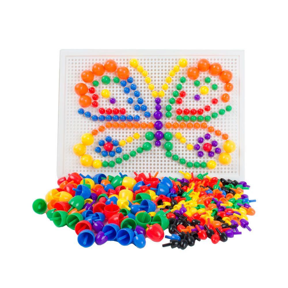 Грибные ногти Peg Board Детский сад Building Puzzles Toys, с инструкцией по идеям, 7 цветов, более 200 шт.