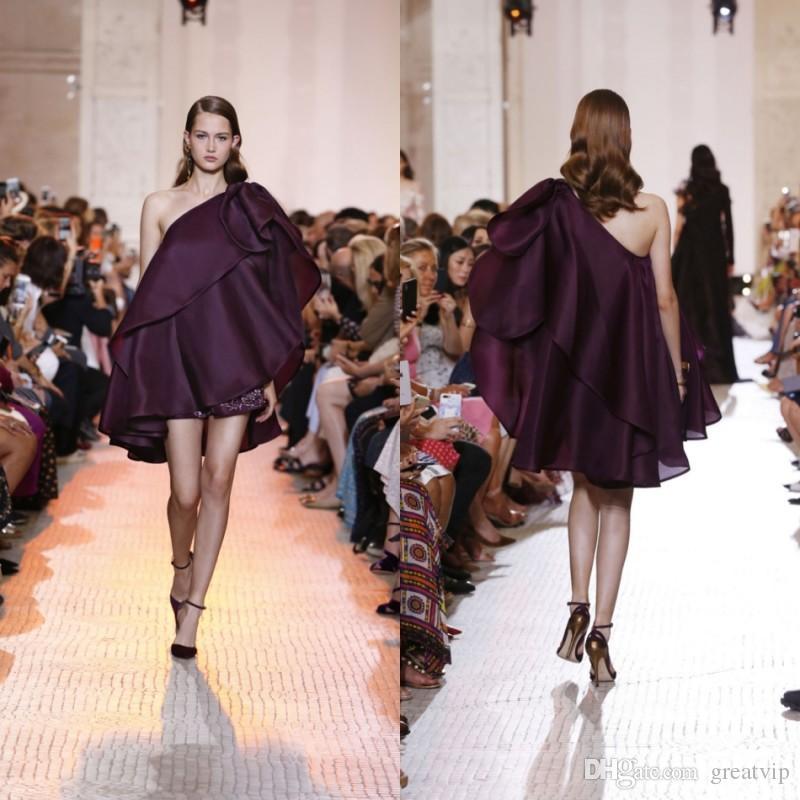 Elie Saab 2019 nouvelle mode robes de soirée en satin une épaule volants jupes courtes robes de soirée de bal, plus la taille robes de Fiesta