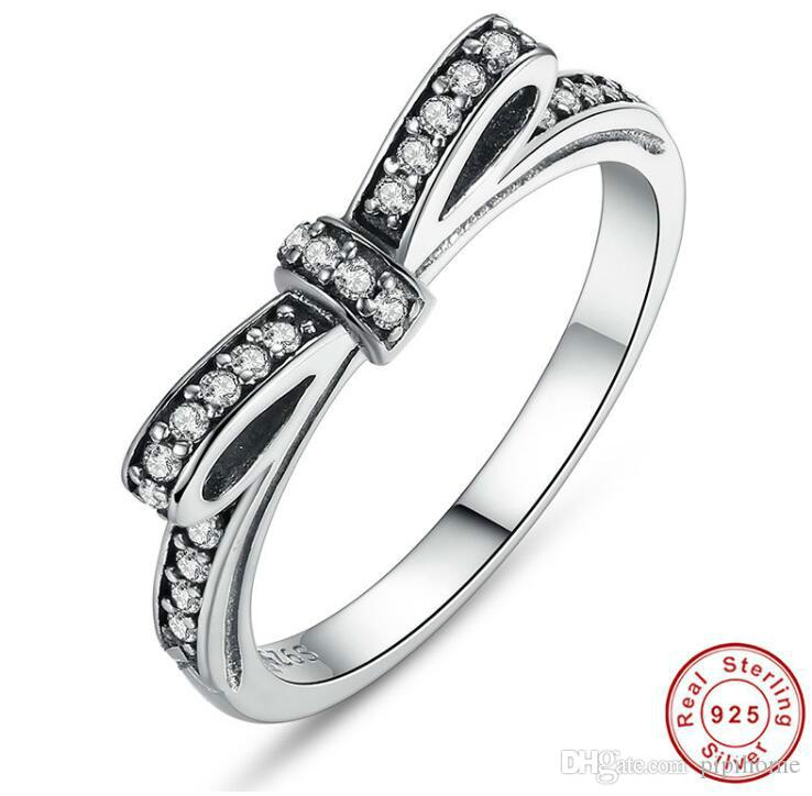 925 Sterling Silver Sparkling Bow Knot Stackable Ring Micro Pave CZ for Women Valentine's Day Gift Jewelry