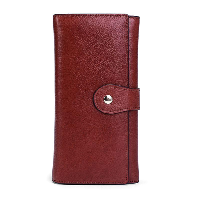 Premium 100% Véritable Cuir Femmes Portefeuilles Longue Vintage Grande Capacité Zipper Sacs À Main Multi-Carte Bit Carte Portefeuilles Carteras Mujer
