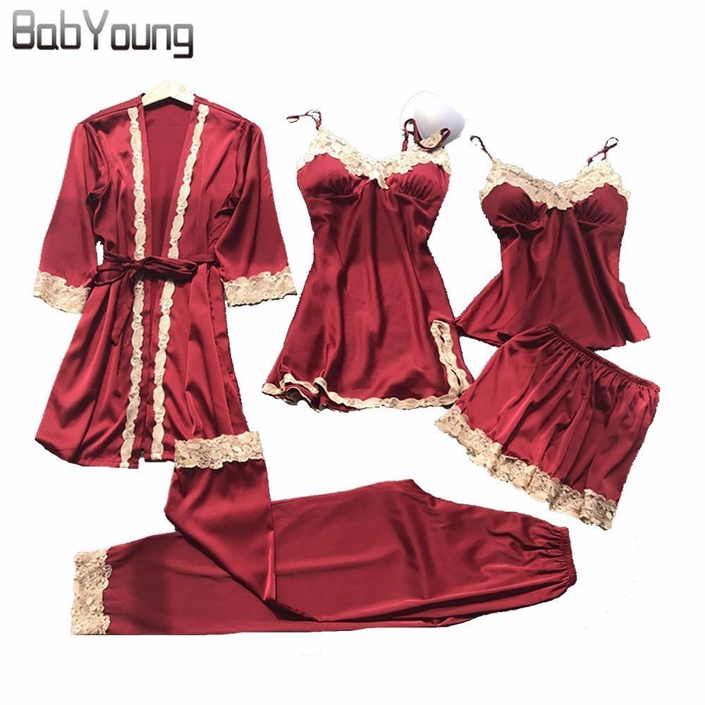 BabYoung 2018 Summer Women Silk Bride Robe Tops Shorts Pijamas Sexy Long Sleeve Túnicas de Boda Conjunto Camisole Lace Nightwear 5 piezas
