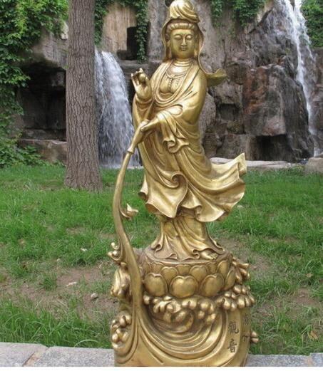 Тибет Тибет Тибетский буддист бронзовый капает Гуаньинь ВАЗа Бодхисаттва статуя Будды