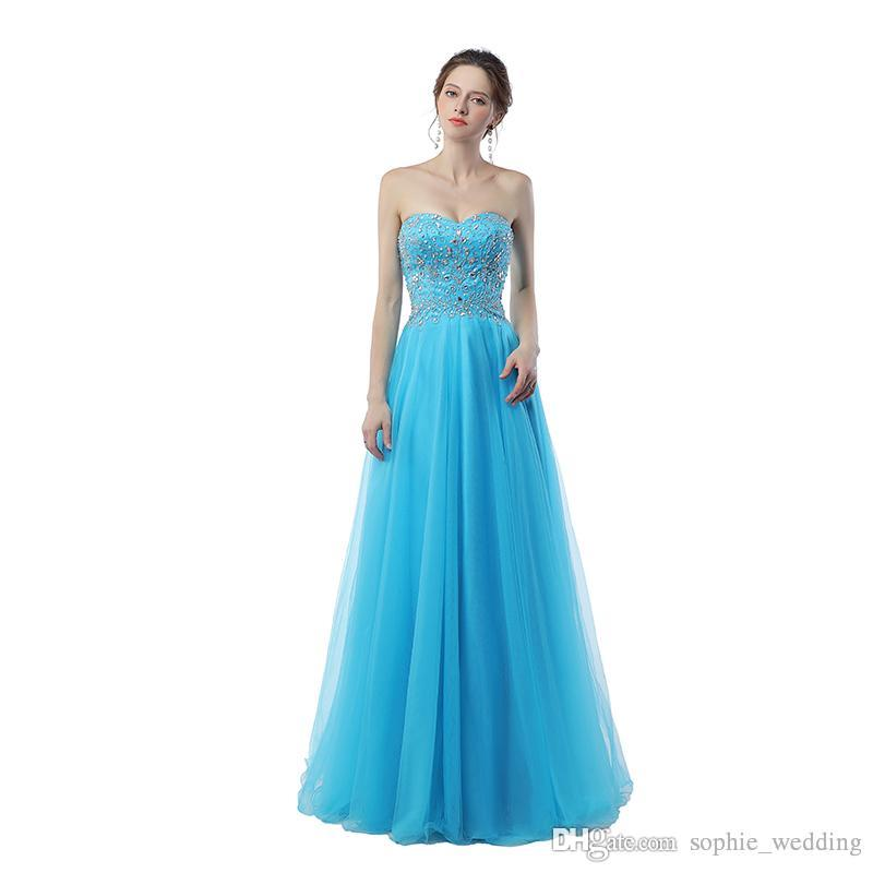 classic fit 3b6f3 ff43c Real Sample Sky Blue Prom Gowns Sweetheart Abiti Da Cerimonia Da Sera  Evening Dresses 2018 Abito Sposa Chiffon Dress Dress Shop From  Sophie_wedding, ...