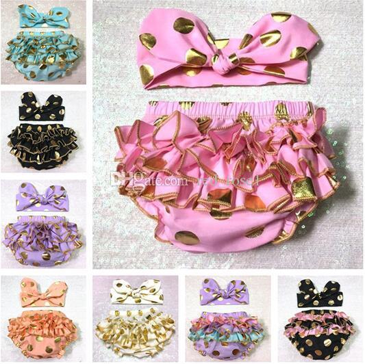 Flickor Guld Polka Dot Shorts Baby Headbands + Bloomers 2 Piece Sets Barn Ruffled Shorts Kids Bomull Underkläder Barnens Lace Hot Byxor