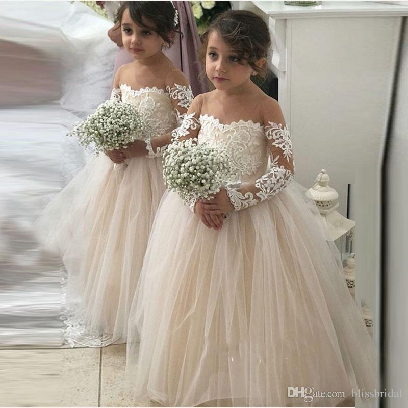 Lovely Long Sleeve Sheer Neck Jewel Wedding Flower Girls' Dresses 2019 Kids Formal Party Gown Applique Lace Girl's Pageant Dress
