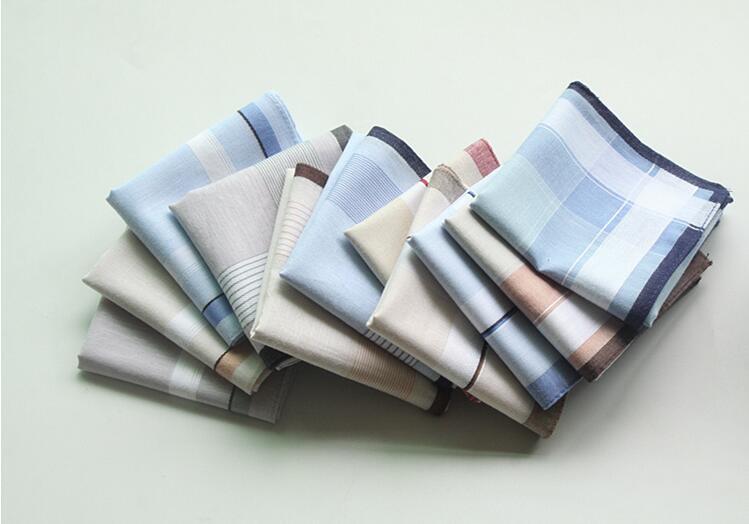 Envío gratuito 10 unids pañuelos de raya cuadrada 40 cm * 40 cm hombres patrón clásico bolsillo pañuelo de algodón pañuelo a cuadros