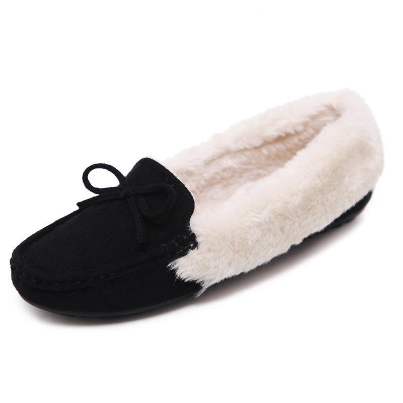 Женщины Удобные Теплые Зимние Квартиры Искусственного Меха Скольжения На Мокасины Мокасины Обувь